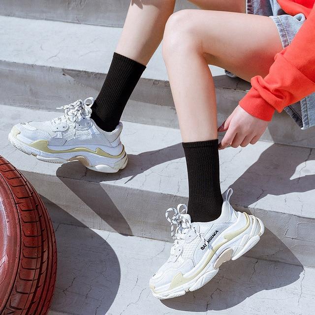 Socks autumn and winter ins pure cotton women's Solid Color Soft Fashion girls black white lolita funny korean 2