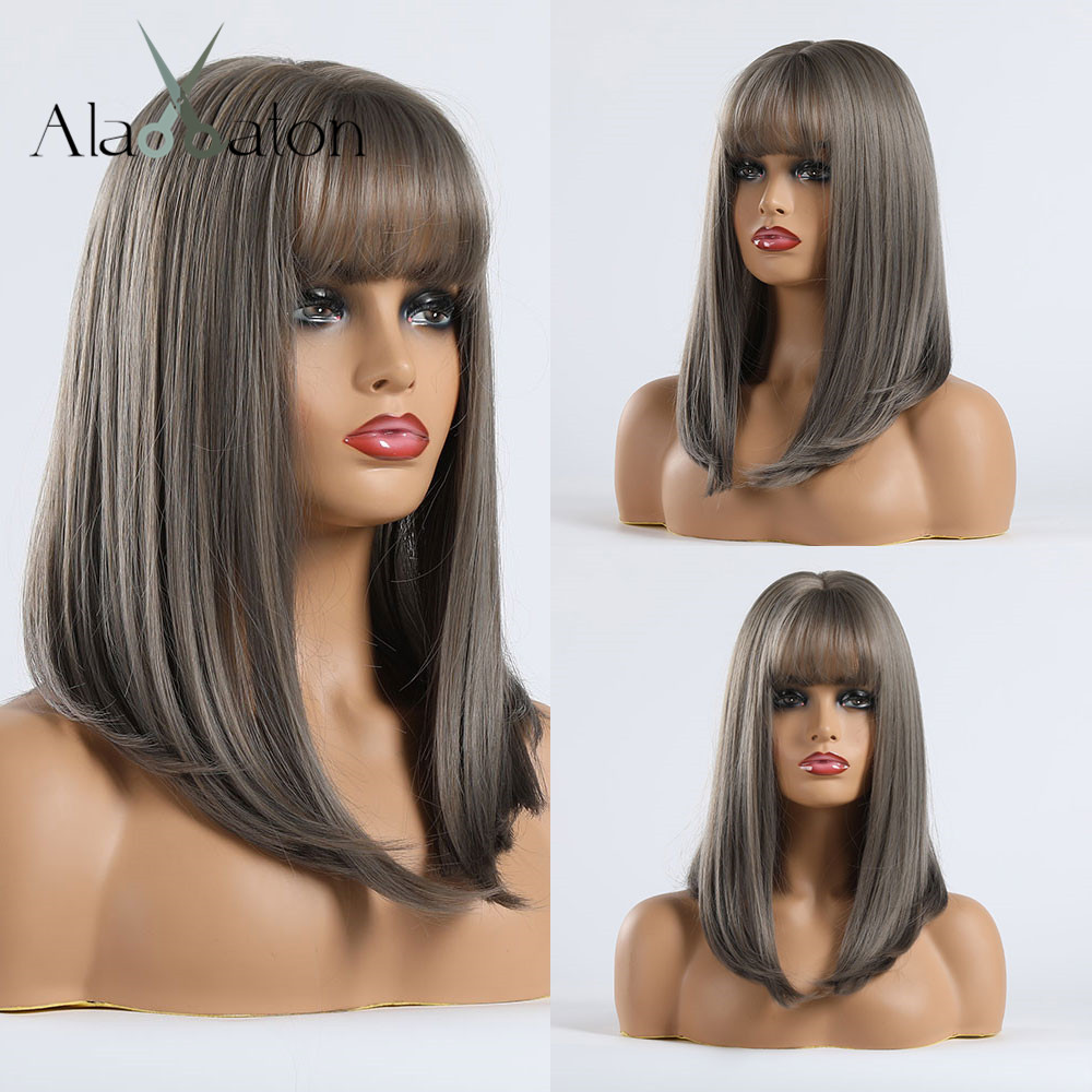 ALAN EATON Straight Gray Linen Ash Synthetic Wigs With Bangs For Women Medium Hair Bob Wig Heat Resistant Cosplay Wigs Lolita