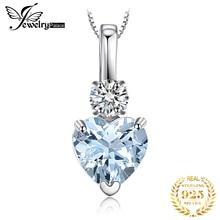 JewelryPalace doğal akuamarin beyaz Topaz kolye kolye 925 ayar gümüş taşlar gerdanlık kolye kadınlar zinciri olmadan