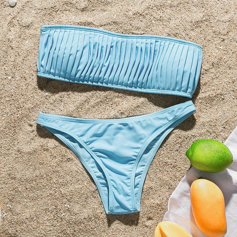 High cut bathing suit strapless bikini 2020 Solid swimwear women Bandeau swimsuit female Pleated summer bathers Sexy biquini new 5
