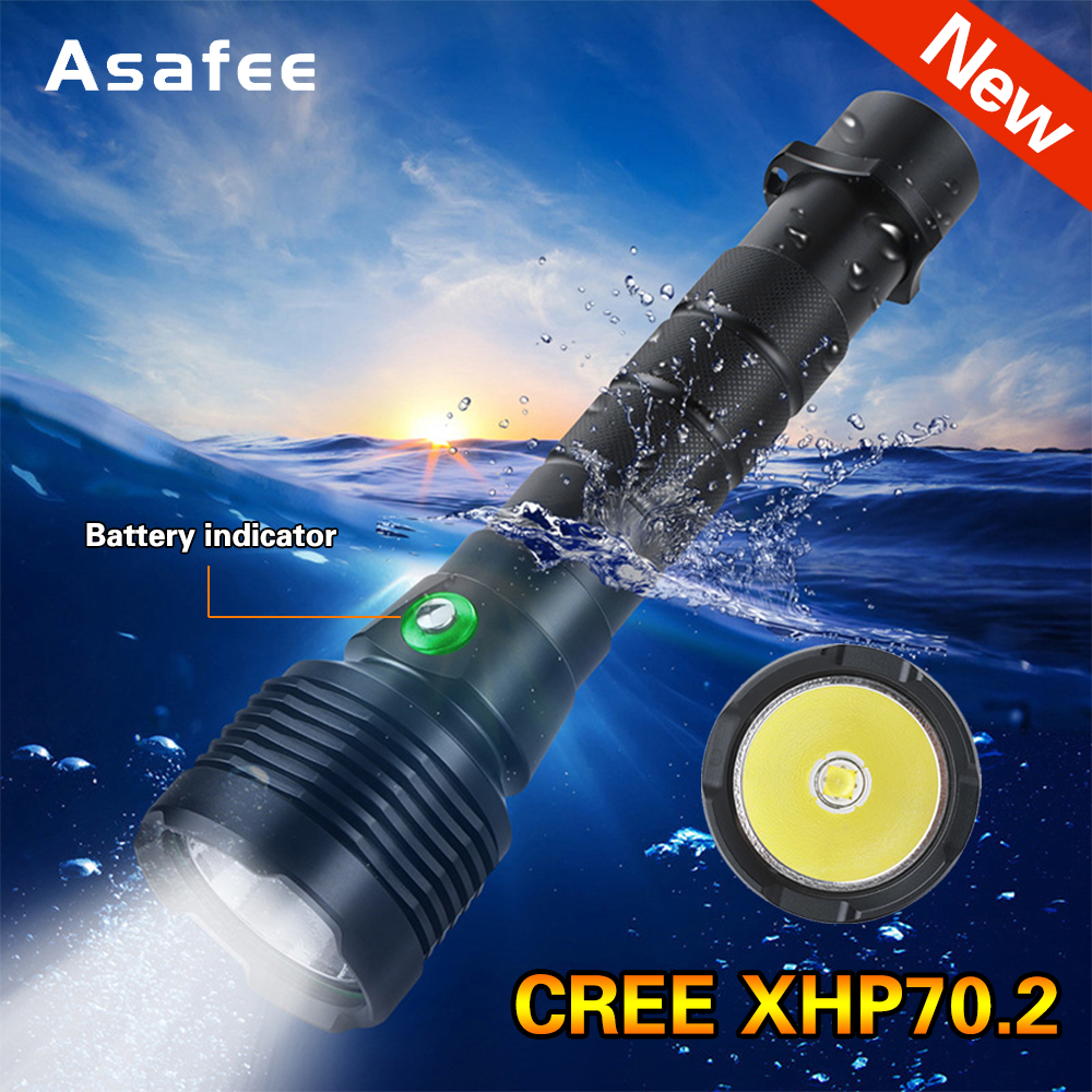 New Powerful LED Scuba Diving Flashlight Brightest 30W XHP70.2  Underwater Torch IPX8 Waterproof XHP70 Dive Lamp Lantern
