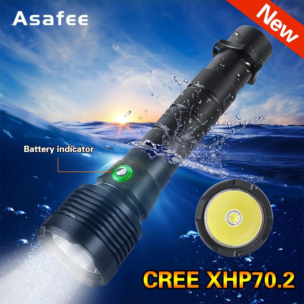 XHP70 2 Powerful LED Scuba Diving Flashlight Brightest 30W XHP70 2 Underwater Torch IPX8 Waterproof XHP70 Dive Lamp Lantern