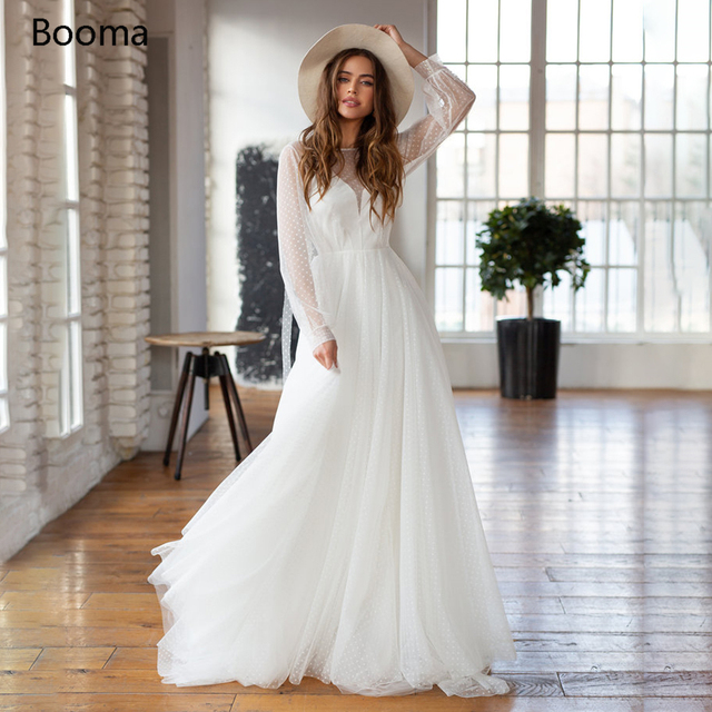 Booma Polka Dots Tulle Beach Wedding Dresses O-Neck Long Sleeves Sheer Neckline Bride Dresses Backless A-Line Bridal Gowns 1