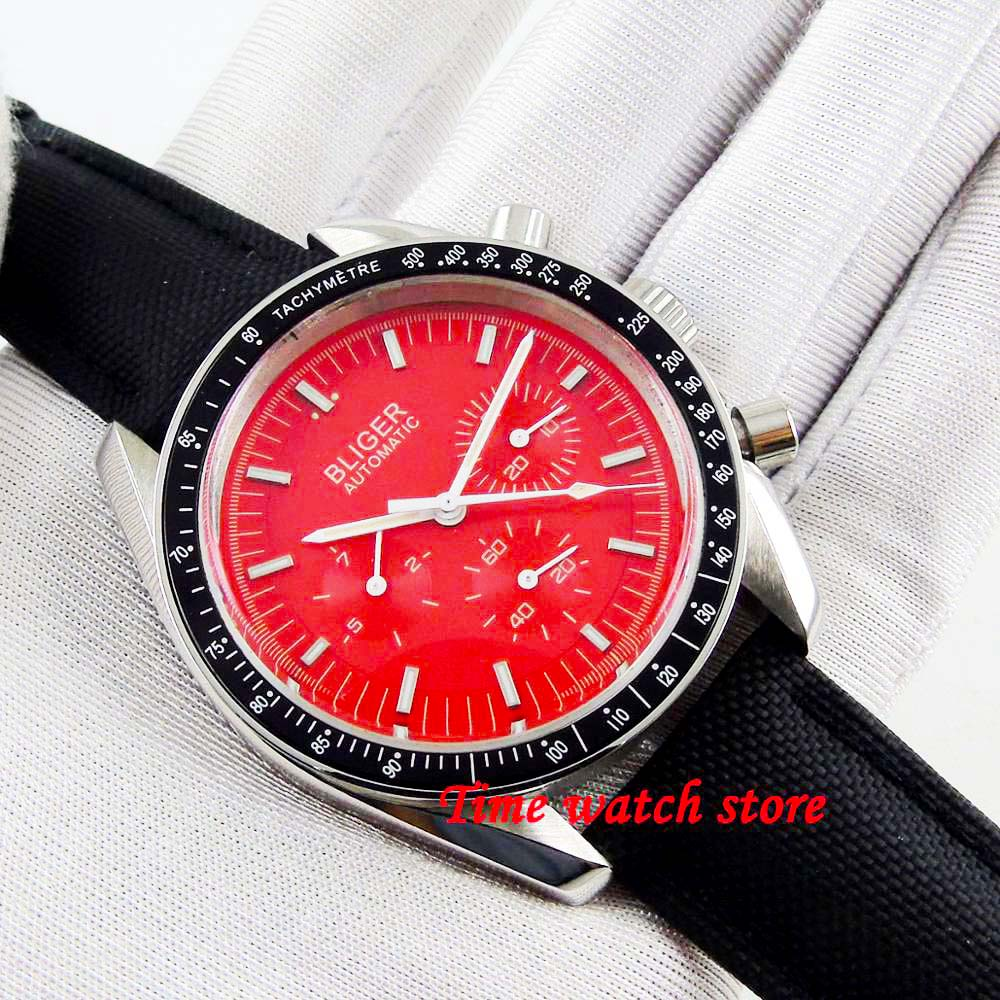 Bliger 40mm Multifunction Automatic wrist Watch men Date Week display waterproof red dial leather strap black bezel