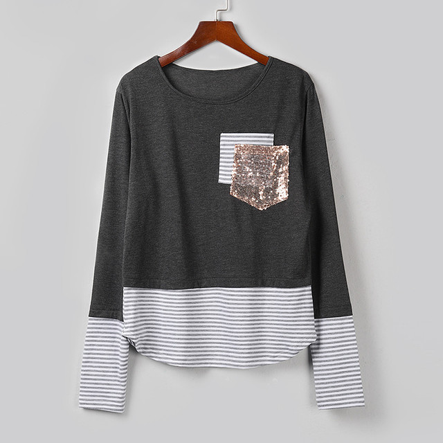 Fashion Striped Sequins Blouse Patchwork Casual Winter Ladies Loose Bottom Tops Female Women Long Sleeve Shirt Blusas Pullover 4