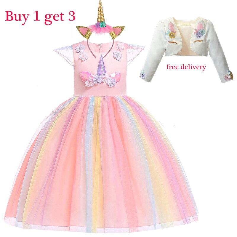 Рождественские платья для девочек на Пасху, вечерние костюмы с единорогом, детская одежда из 3 предметов, элегантное платье принцессы, 2 От 9 ...