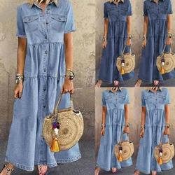 Mulheres verão outono denim vestidos longos retro botão bolsos jeans maxi vestido senhoras vestidos casuais