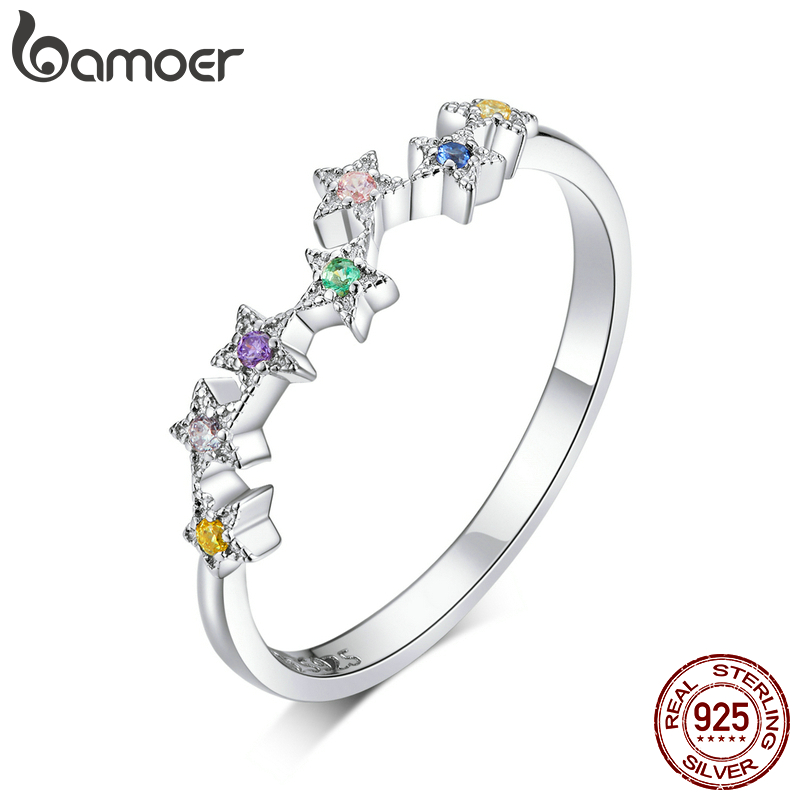 Bamoer Authentic 925 Sterling Silver Colorful Star Line Finger Rings For Women Hypoallergenic Gift Statement Jewelry BSR133