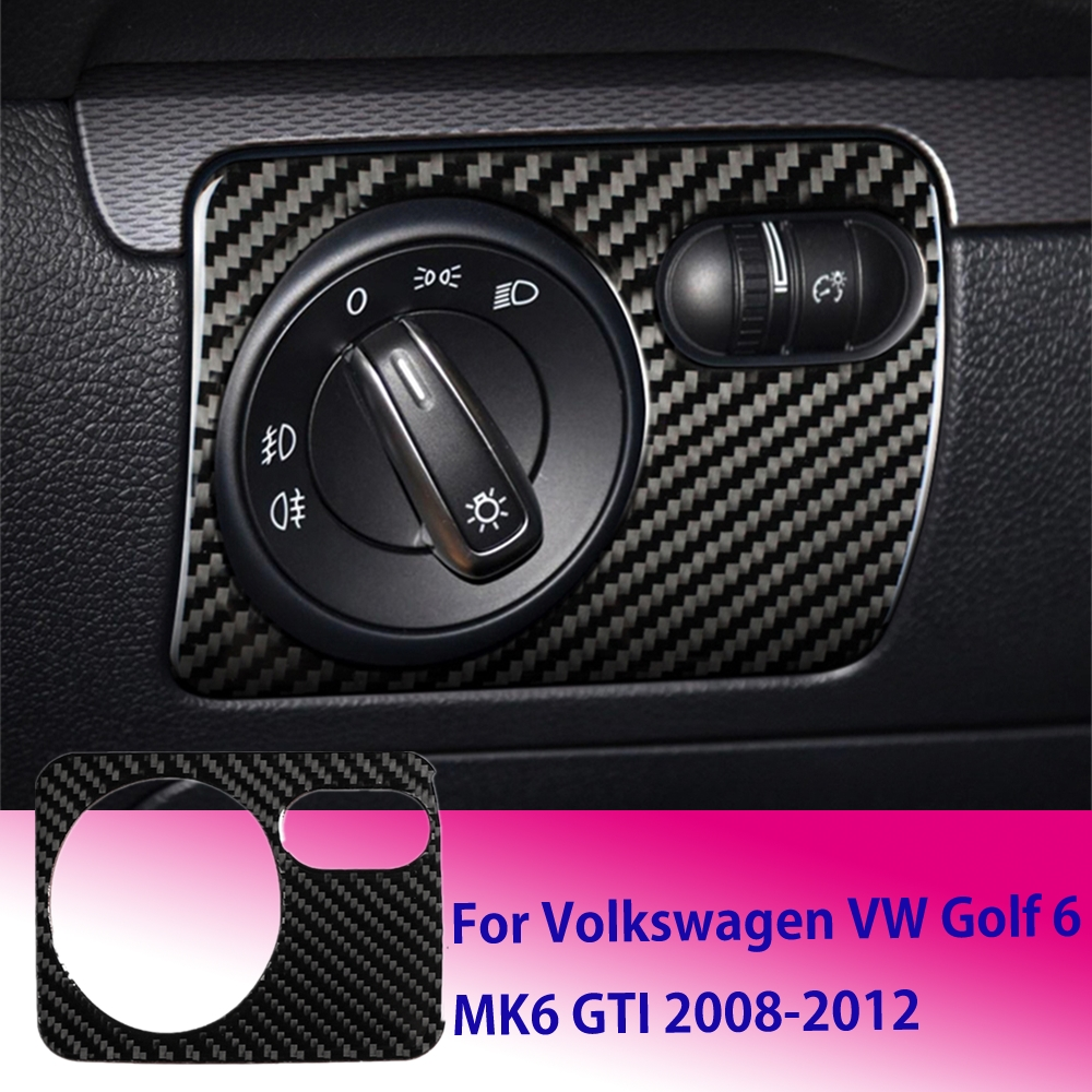 Car Front Headlight Switch Knob Cover Trim Sticker Carbon Fiber For VW Golf 6 MK6 GTI 2008-2012 Car Interior Stickers