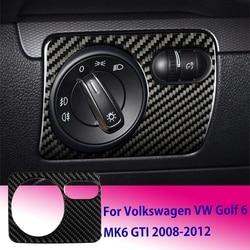 Phía Trước Xe Hơi Đèn Công Tắc Núm Bao Viền Miếng Dán Sợi Carbon Cho VW Golf 6 MK6 GTI 2008-2012 Xe Ô Tô nội Thất Miếng Dán