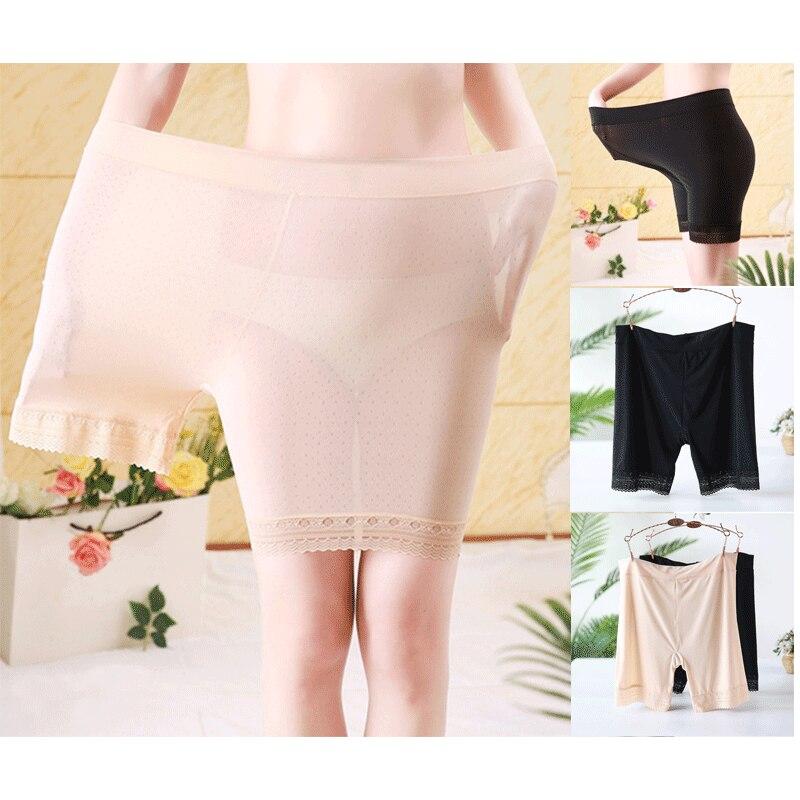 Woman Safety Shorts Ice Silk Brief Long Boxer Briefs High Waist Panties Boyshorts Pants
