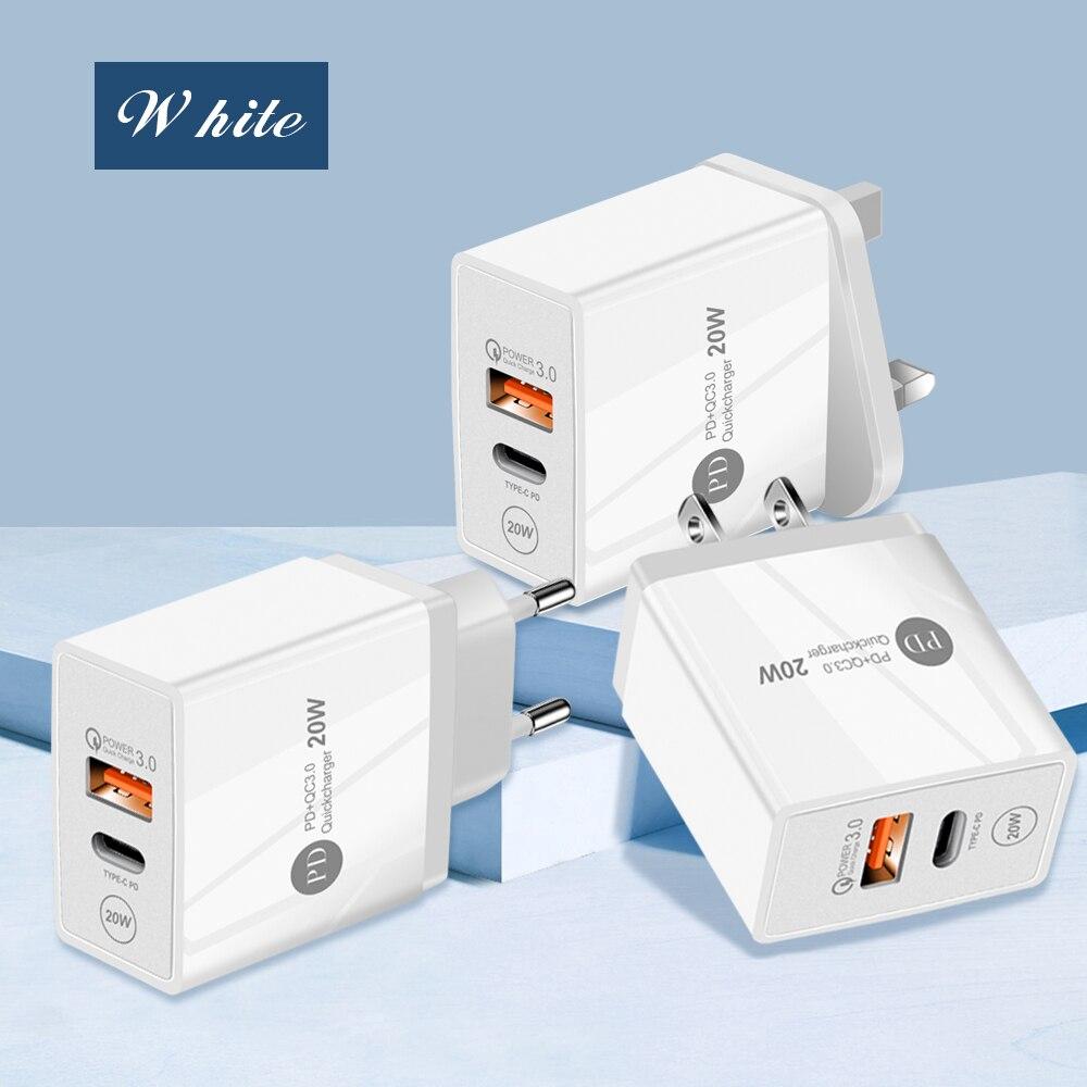 20 W PD typ C Dual Port USB ladegerät QC 3,0 Schnell Lade Power adapter für apple uns/eu/UK stecker für Android geräte