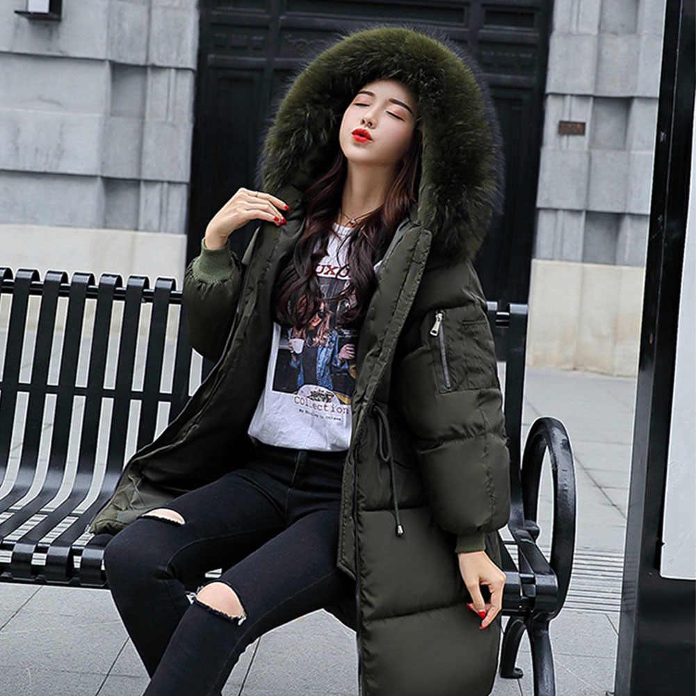 厚いジャケット女性の冬 2019 暖かい上着コート毛皮フード付き女性ロングカジュアル暖かい特大フグジャケットパーカー高品質