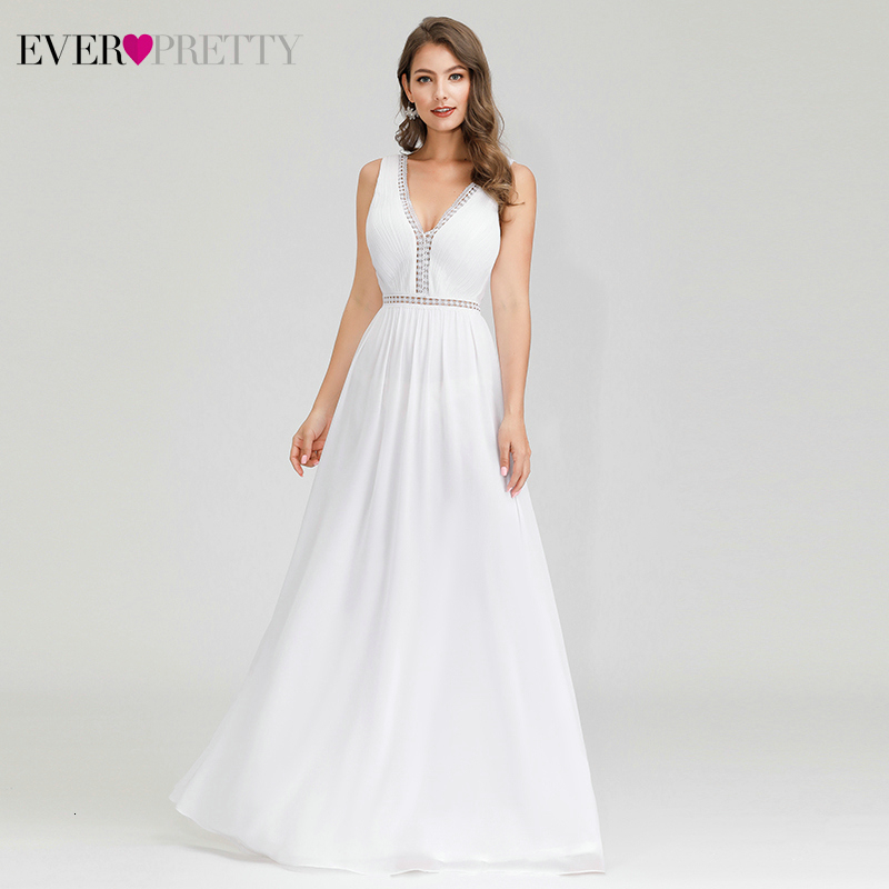 Sexy White Prom Dresses Ever Pretty A-Line Deep V-Neck Ruched Sleeveless Hollow Out Formal Evening Party Gowns Gala Jurken 2020