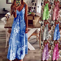 2020 Women Casual Loose Strap Dress Floral Summer Sexy Boho Bow Camis Befree Maxi Dress Plus Sizes Big Large Dresses Robe Femme
