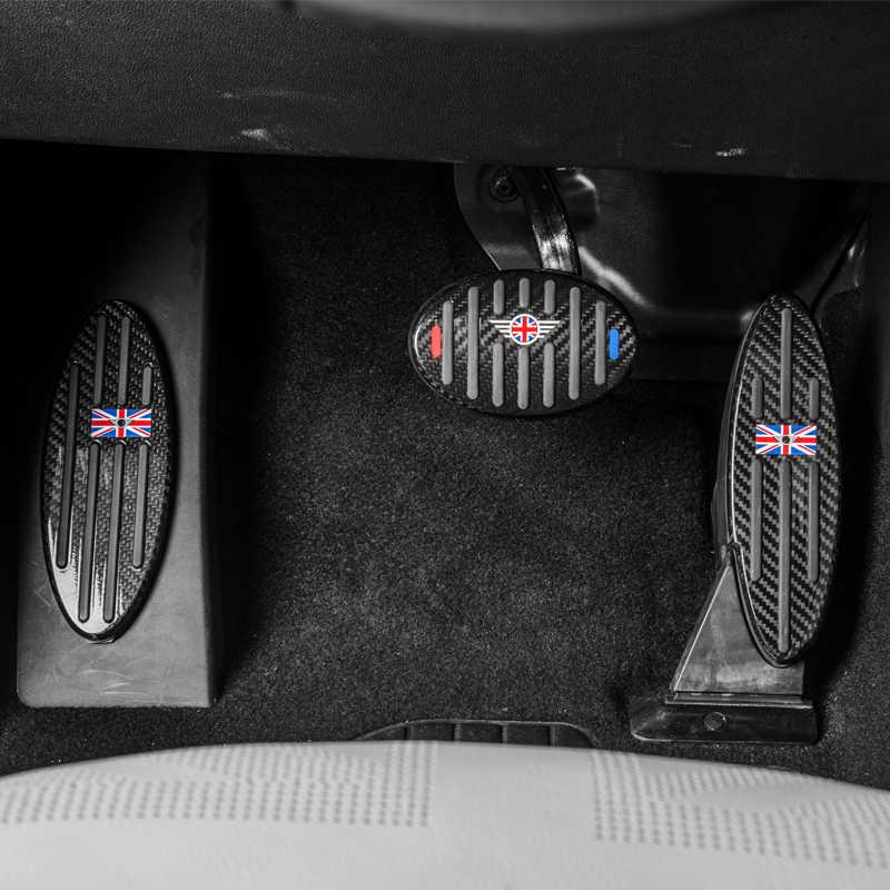3 pièces pour MINI Cooper JCW f54 f55 f56 f60 r55 r56 r60 voiture autocollant voiture pédale de gaz décoration fibre de carbone voiture accessoires intérieur