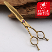 Fenice 7.0 inch Professional Curved Thinning Shear Gold/Black/Pink Purple Pets Dog Grooming Scissors Animal Haircut Tool