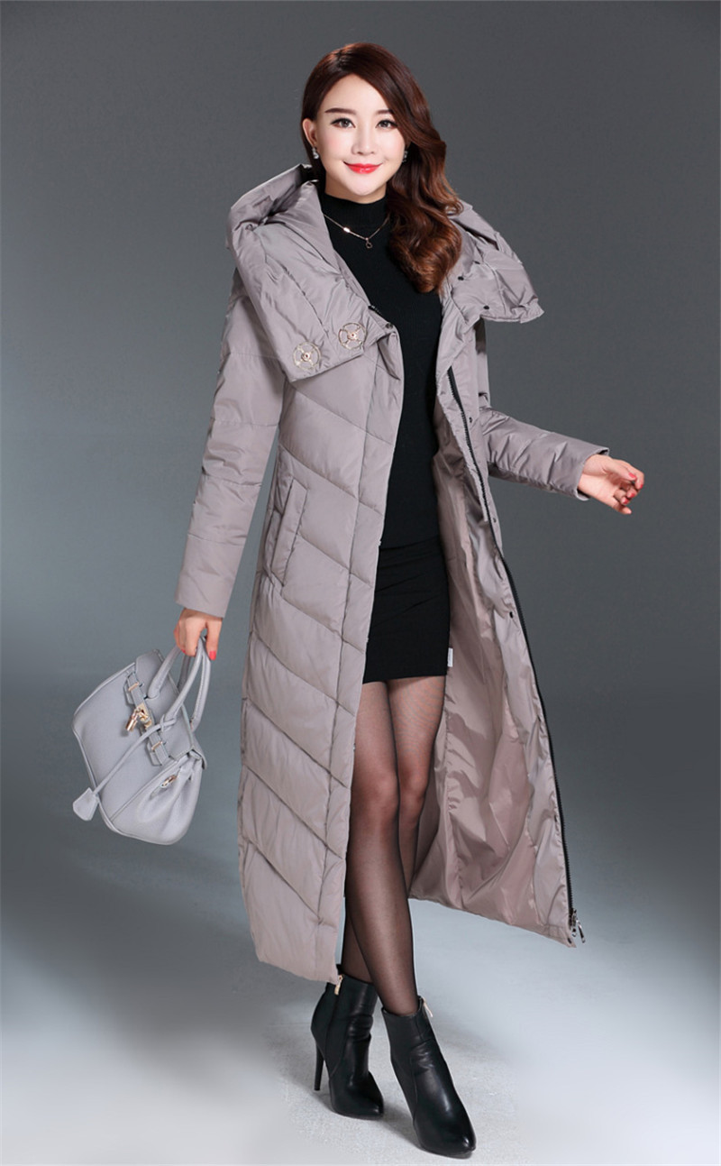 Down Women's Fashion Jacket Hooded White Duck Down Coat Women Long Parka Solid Padded Jackets Casaco De Inverno WXF393 S