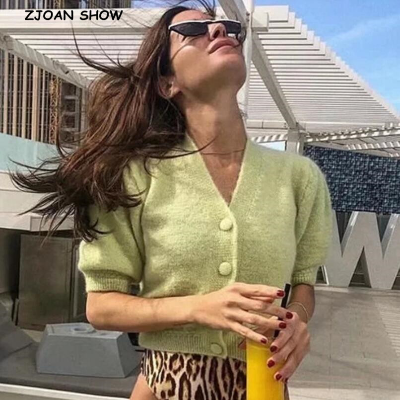 2019 Women Knitted Single-breasted Button Cardigan Shaggy Sweater Retro Exposed Navel Short Knitwear Short Sleeve Jumper Tops