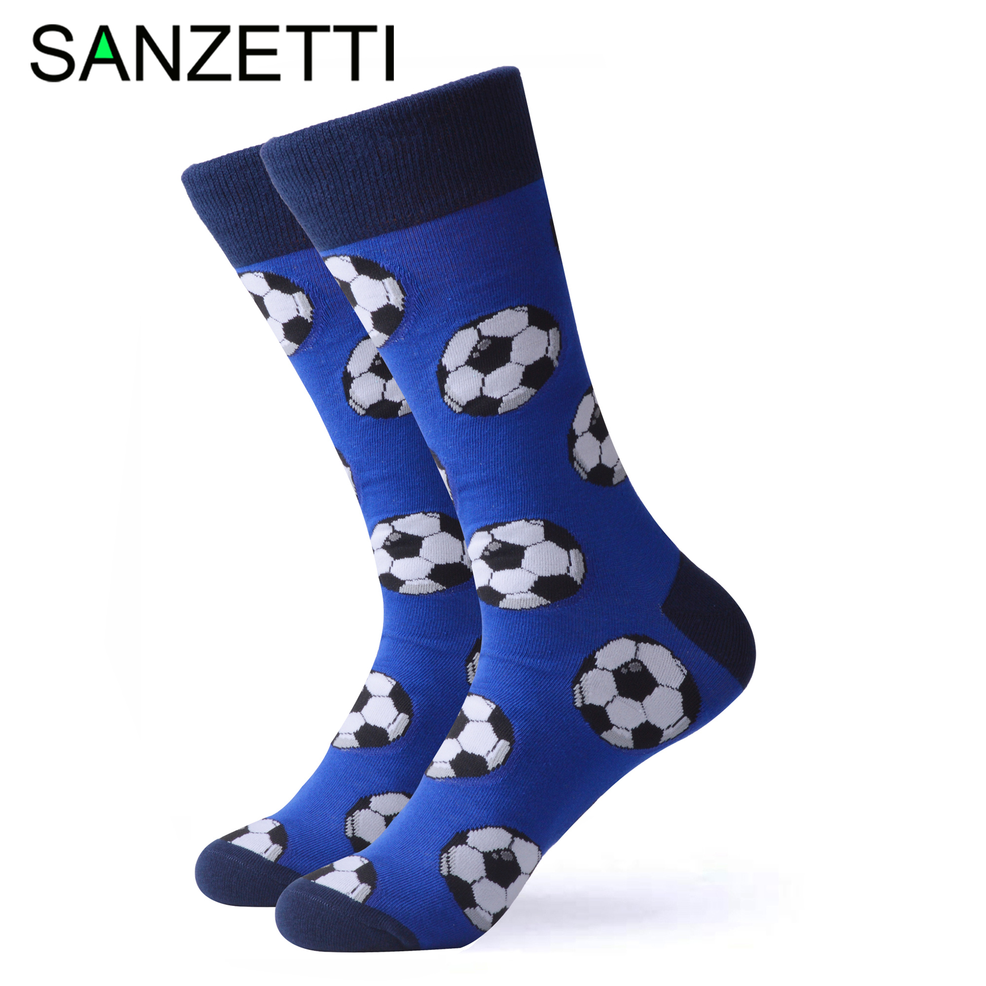 SANZETTI 1 Pair Happy Socks High Quality Men's Colorful Comfortable Combed Cotton Football Golf Novelty Gift Wedding Dress Socks