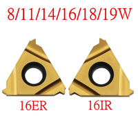 10PCS 16ER 16IR 8/11/14/16/18/19 W  텅스텐 카바이드 터닝 스레딩 인서트 Whitworth - 55 degree yellow coationg