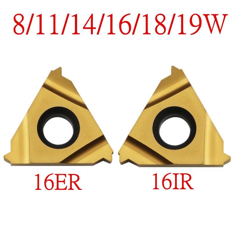 10PCS 16ER 16IR 8/11/14/16/18/19 W, Tungsten Carbide Turning Threading Insert Whitworth - 55 Degree Yellow Coationg