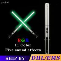 pqbd Saber NEW RGB Lightsaber Force FX Light Saber With 5 Sets Soundfonts and LED Metal handle FOC Toy