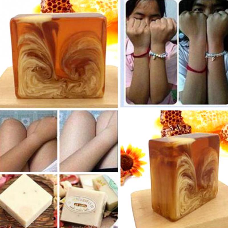 Natural Handmade Honey Soap Propolis Skin Face Whitening Care Soap Honey Bleaching Deep Beauty Cleansing Soap Replenishing Milk
