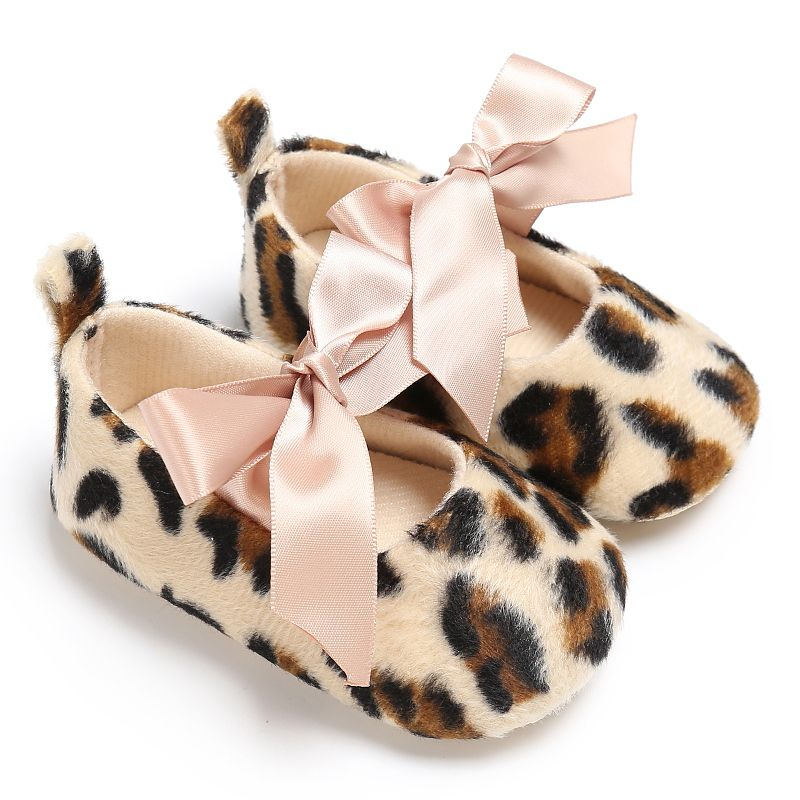 Kids Girl Leopard Print Tie Soft Toddler Cute Leopard Print Tie Soft Newborn Anti-slip Baby Shoes Soft Sole Kids Crib Shoes A