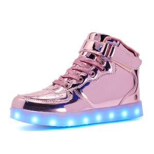 Image 4 - Chaussures brillantes à chargement Usb pour enfants, baskets pour enfants, boucle de crochet lumineuse pour filles, garçons, hommes et femmes, 2019