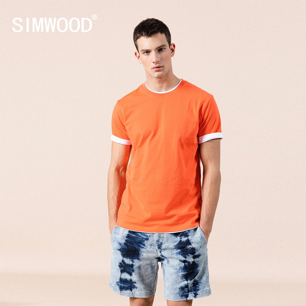 SIMWOOD 2021 Summer New 100% Cotton White Solid T Shirt Men Causal O-neck Basic T-shirt Male High Quality Classical Tops 190449 2