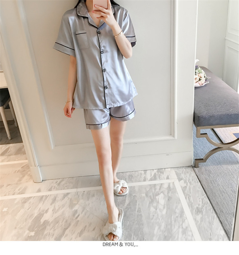 H983e72649da444d3863832901e09c3b5m - JULY'S SONG New Spring Summer Women Faux Silk Pajamas Set Simple Pure Color Leisure Nightwear Short Sleeves Sleepwear