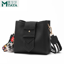 MAIYAYA Hairball Bucket Bag Leather Brand Designer Luxury Handbags Women Small Bags 2019 New Fashion Shoulder Bag For Teenagers