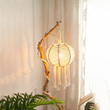 Northern European style creative hand woven lampshade circular chandelier cage home and homestay hotel  decoration