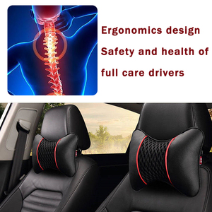 Image 3 - 2Pcs PU Leather Knitted Car Pillows Headrest Neck Rest Cushion Support Seat Accessories Auto Black Safety Pillow Universal Decor