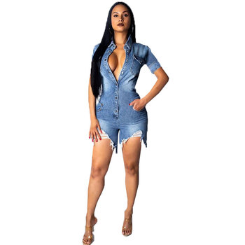 2020 Summer Denim Jumpsuit Single Button Hole Sexy Playsuit Short Pants Overall Jeans Bodycon Romper Women Clothes Casual Street