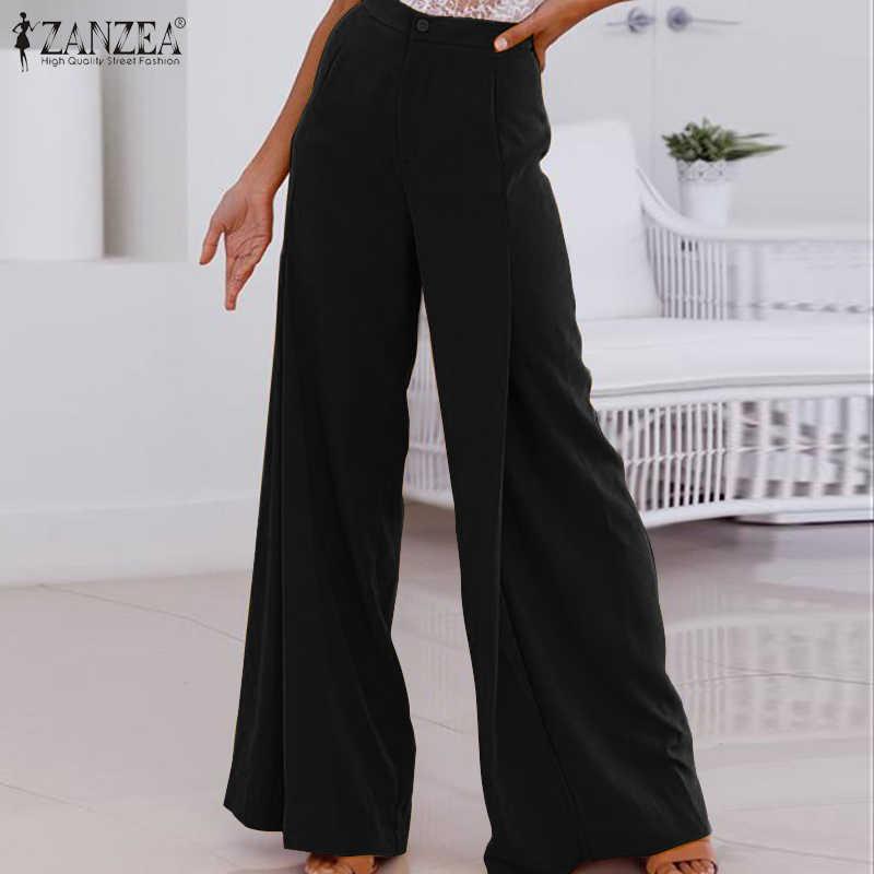 Zanzea plus size calças de perna larga feminina 2020 moda escritório senhora trabalho chique calças casuais sólida calças compridas calças cintura alta pantalones