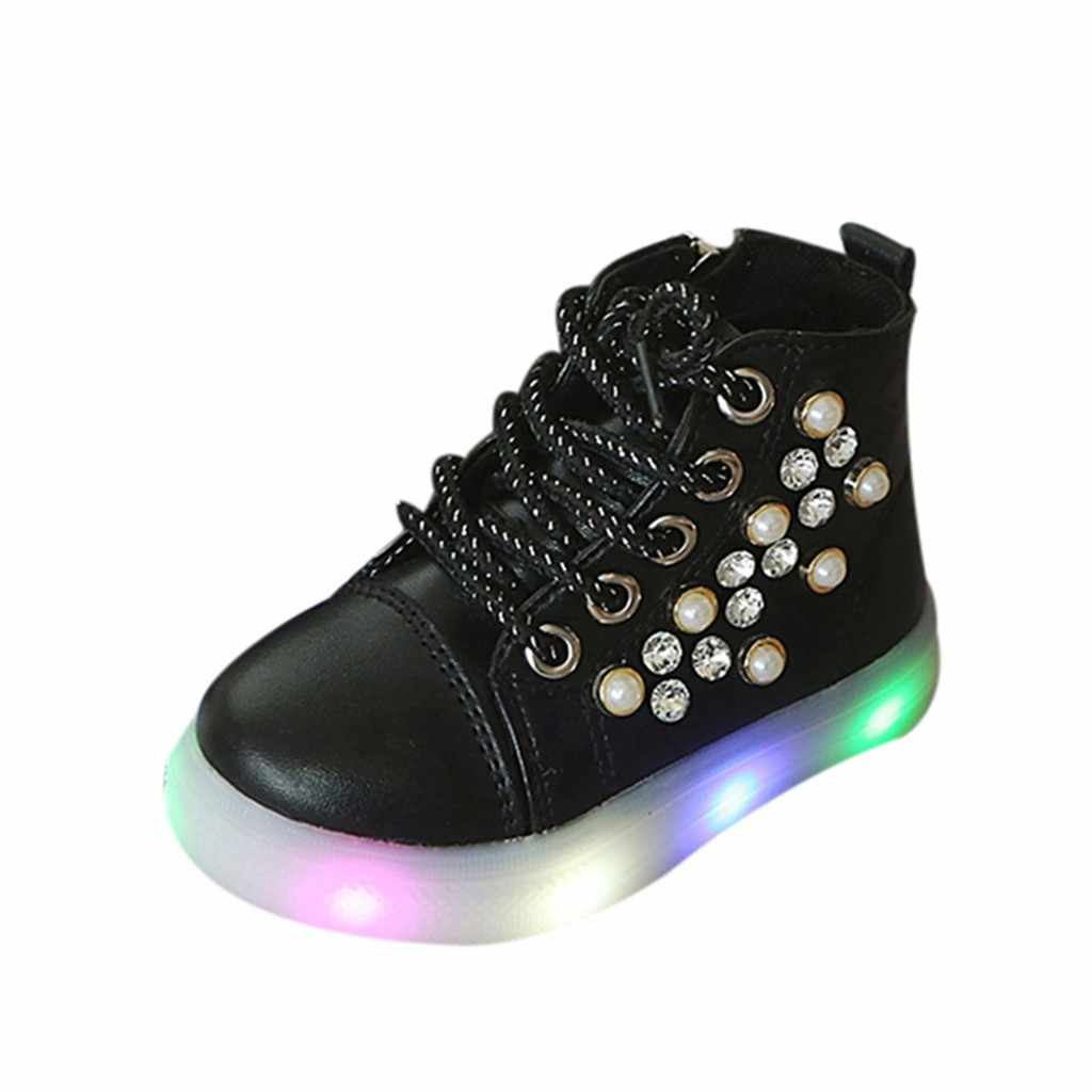 รองเท้าผ้าใบส่องสว่างเรืองแสง USB ชาร์จเด็กทารกดอกไม้คริสตัลไฟ led Luminous Running Sport รองเท้ารองเท้า