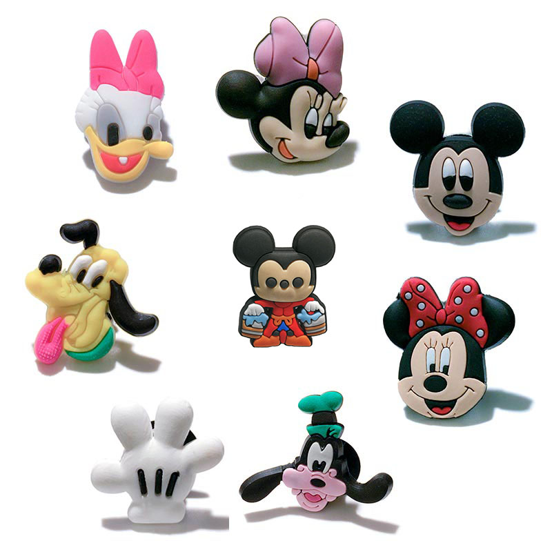 Single Sale 1pc Mickey New Style PVC Shoe Charms Shoe Buckles Accessories Fit Bands Bracelets Croc JIBZ,Kids Party X-mas Gifts