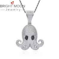 Bright Moon 2019 New Hip Hop Jewelry Men's Chain Necklace Cute Iced Octopus Devilfish Pendant for Male Boys