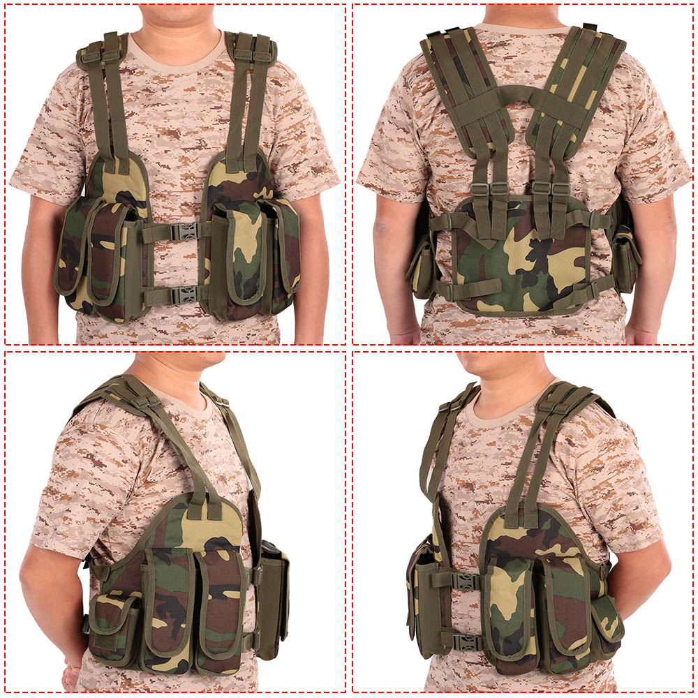 Outdoor Tactical Chest Frame Adjustable Cushioned Modular Military Vest Mag Pouch Magazine Pocket Platform Tactical Vest