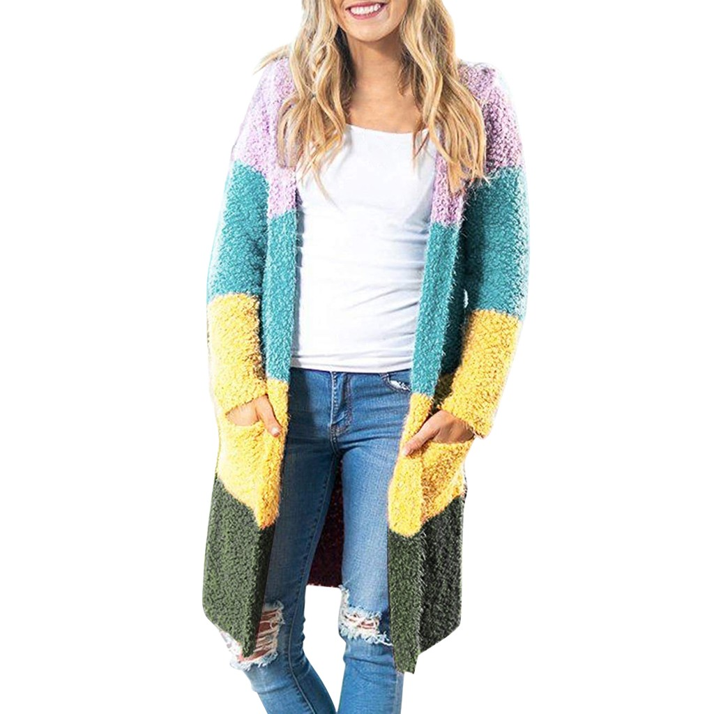 Cardigans Knitted Sweaters Long Patchwork Casual Autumn Thin Sweater Coat Long Sleeve Plus Size Pockets Outerwear  #N5