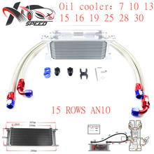 цена на Universal 15 row oil cooler AN10 15 rows engine radiator + for BMW E36 E46 oil filter adapter XXUOL15-14SL/BK