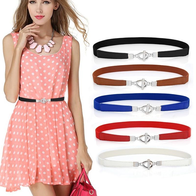 Elastic Women Belts Strap Thin Skinny Ladies Dress Waist Belt Leather Gold Buckle Female Red Belts ceinture femme pasek damski 5