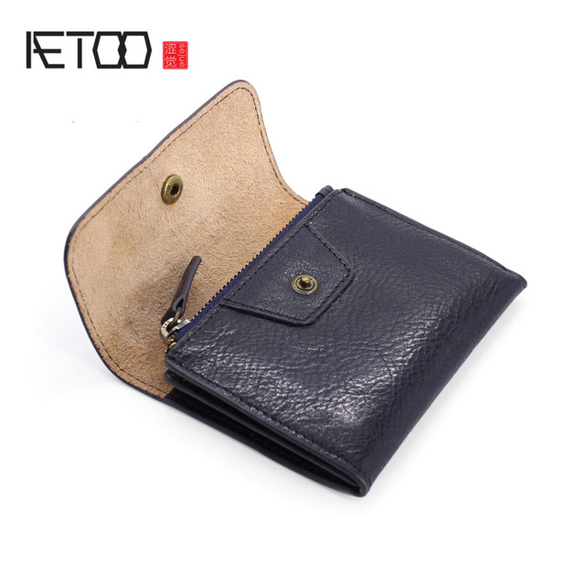 AETOO Handmade Coin Purse Headband Vegetable Tanned Leather Coins Pack Men & Women Retro Mini Leather Card Pack Small Wallet Tid