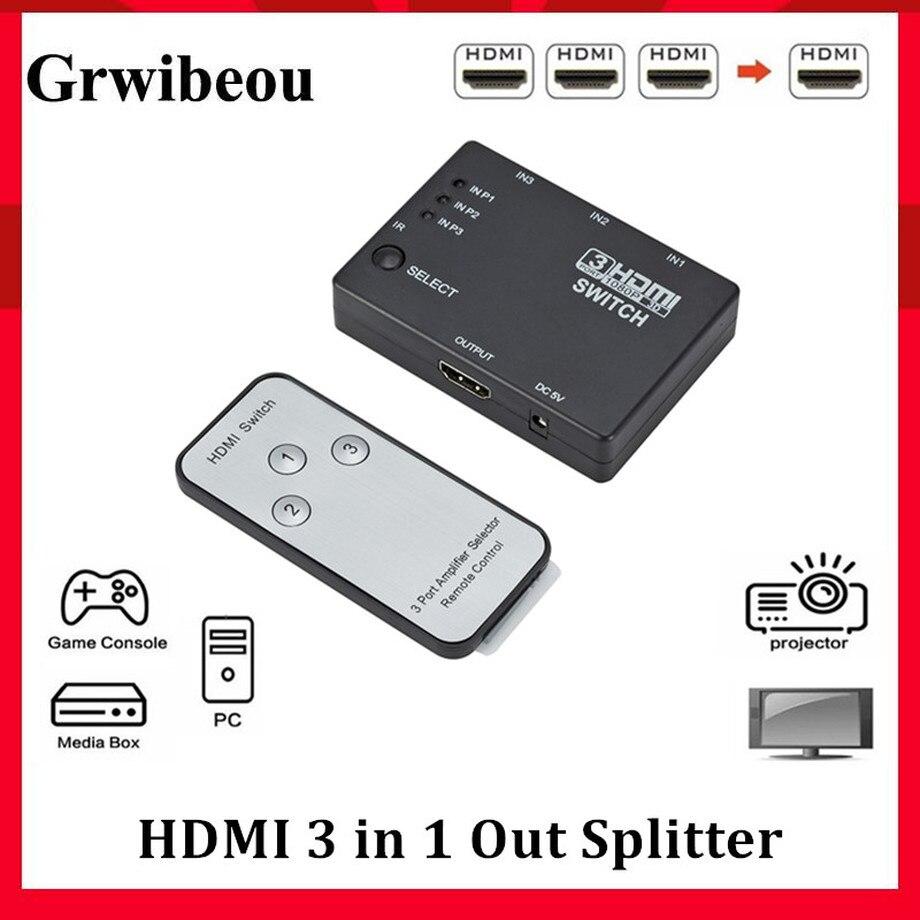 Grwibeou HDMI сплиттер 3 в 1 переключатель 3 порта концентратор коробка Авто переключатель 3x1 1080p HD 1,4 с пультом дистанционного управления для HDTV ...