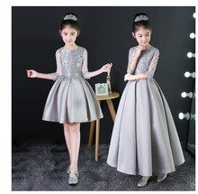 Appliques Kids Girls Formal Dress Silver Princess Dress Birthday Costume Birthday Party Cosplay Costume gifts(China)