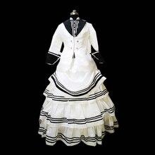 Freeship Beige Vintage Costumes Victorian Dresses 1860s Scarlett Civil War Southern Belle dress Halloween dresses US4-36 C-887