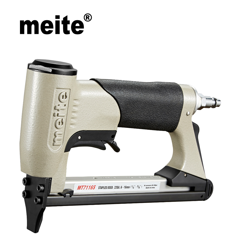 Meite MT7116S 3/8 crown fine wire stapler pneumatic tool gun nailer gun with trigger safety for furniture Jun.14 Update tool