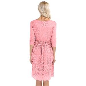 Image 4 - נשים Femme אלגנטית יולדות שמלה פרחוני תחרת כיסוי V צוואר חצי שרוול בהריון צילום שמלת עבור לקחת חלק לנכש